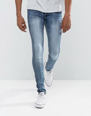 Solid Умеренно выбеленные синие джинсы скинни из эластичного денима. Цвет: синий