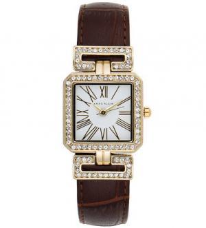 Часы с кожаным браслетом выделкой под рептилию Anne Klein