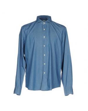Джинсовая рубашка XACUS. Цвет: синий