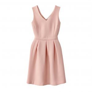 Платье короткое однотонное без рукавов SUNCOO. Цвет: телесный,черный