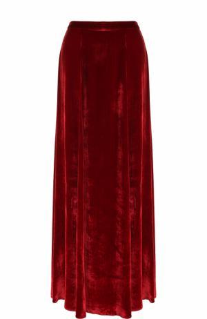 Бархатная юбка-макси с высоким разрезом Alice + Olivia. Цвет: красный