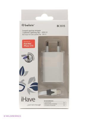 Сетевой адаптер питания c кабелем для iPhone 5 / 5S iPad mini iHave. Цвет: белый
