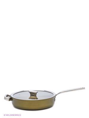 Гл,сковорода 28см c крышкой(стекло) Capri Zanussi. Цвет: кремовый