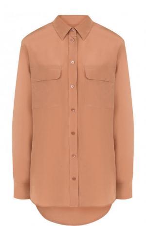 Шелковая блуза прямого кроя Equipment. Цвет: бежевый