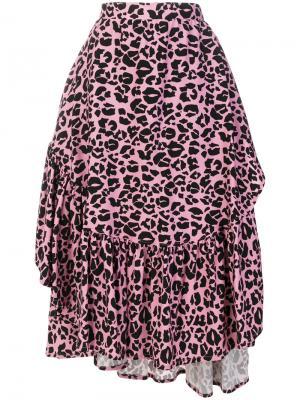 Юбка с оборкой и леопардовым принтом Barbara Bologna. Цвет: розовый и фиолетовый