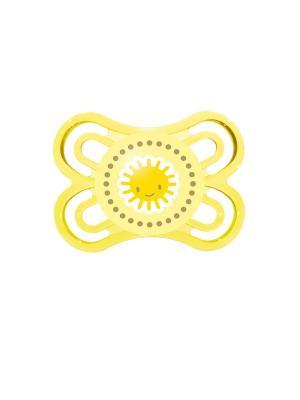 Пустышка силиконовая MAM Perfect  1 шт., 0-6 месяцев. Цвет: желтый