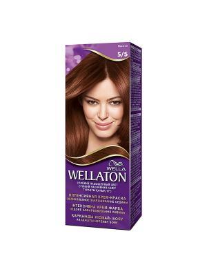 Крем-краска для волос стойкая 5/5 Махагон WELLATON. Цвет: фиолетовый