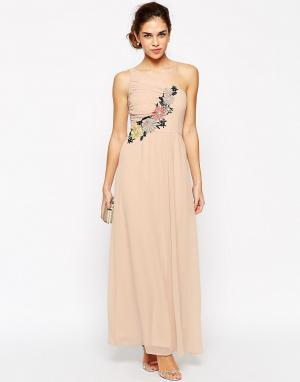 Elise Ryan Платье макси на одно плечо с ажурной отделкой. Цвет: темно-синий