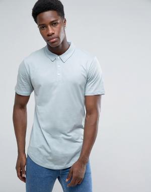 Troy Трикотажная футболка-поло с закругленным низом. Цвет: синий