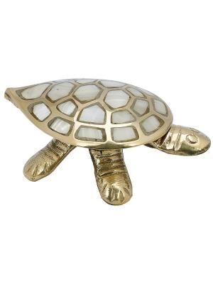 Шкатулка Черепаха латунь перламутр ETHNIC CHIC. Цвет: золотистый, белый