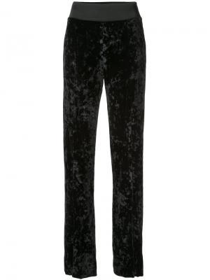 Бархатные брюки с шлицами спереди Jonathan Simkhai. Цвет: чёрный
