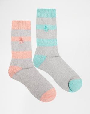 Penguin 2 пары толстых носков в полоску из крученой нити. Цвет: серый