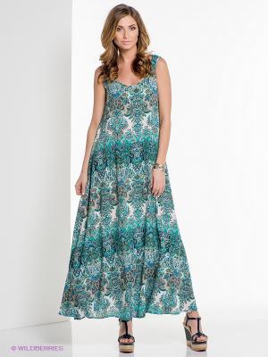 Платье ELENA FEDEL. Цвет: бирюзовый, коричневый, белый