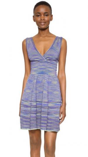 Мини-платье с V-образным вырезом M Missoni. Цвет: фиолетовый