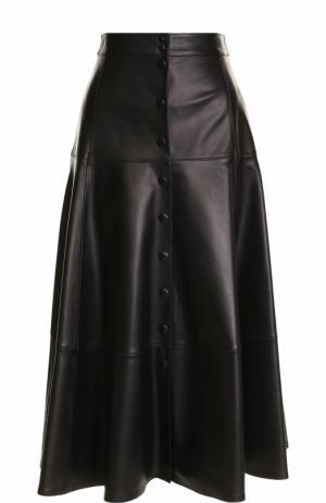 Однотонная кожаная юбка-миди Michael Kors. Цвет: черный