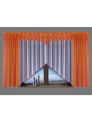 Комплект штор Wisan. Цвет: оранжевый, белый