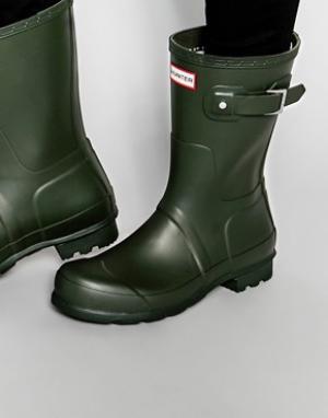 Hunter Короткие резиновые сапоги Original. Цвет: зеленый