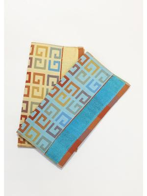 Полотенца банные, 2 шт A and C Collection. Цвет: горчичный, голубой, желтый