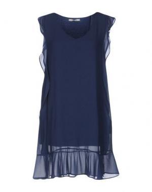 Короткое платье RISSKIO. Цвет: темно-синий