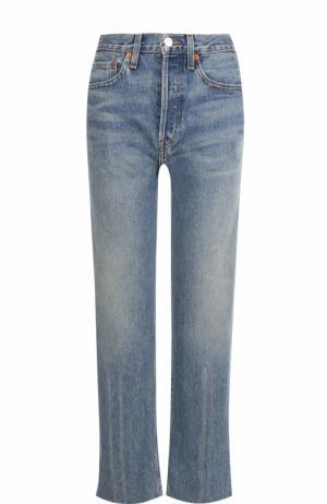 Расклешенные джинсы с потертостями Re/Done. Цвет: голубой