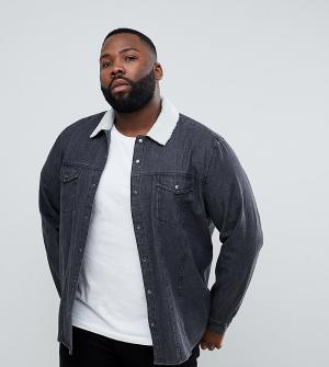 ASOS Черная джинсовая рубашка навыпуск с отделкой из искусственного меха AS. Цвет: черный