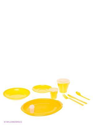 Дорожный набор посуды Метиз. Цвет: желтый