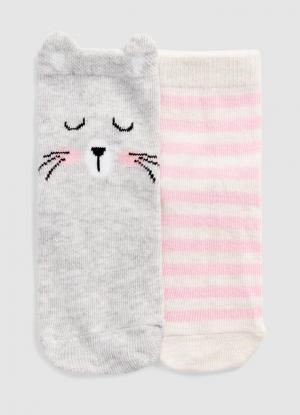 Комплект из 2 пар носков для девочек OSTIN. Цвет: бледно-серый