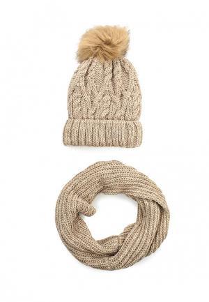 Комплект снуд и шапка Fete. Цвет: бежевый