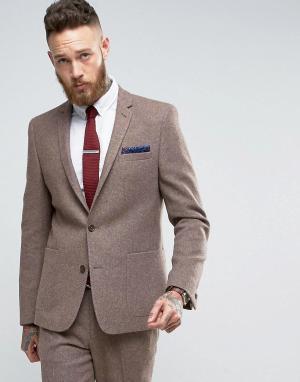 ASOS Серо-желтый узкий пиджак с добавлением шерсти. Цвет: бежевый
