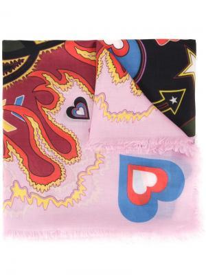 Шарф Heart Flames Mary Katrantzou. Цвет: розовый и фиолетовый