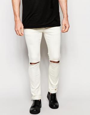 Dark Future Ультразауженные бежевые джинсы скинни с прорезями на коленях Futu. Цвет: экрю