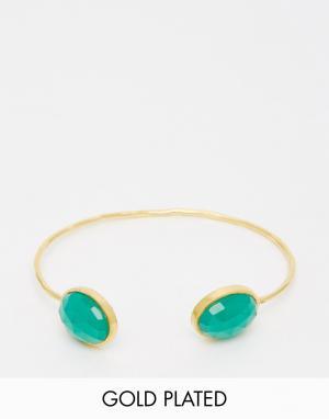 Taara Jewellery Позолоченный браслет. Цвет: green onyx