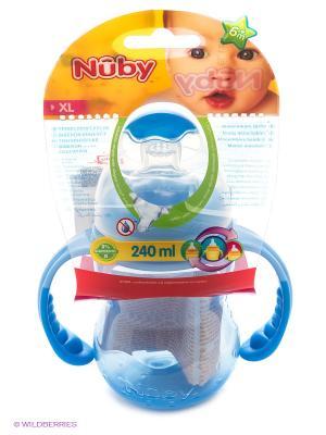 Бутылочка с ручками NUBY. Цвет: синий