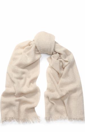 Кашемировый шарф с необработанным краем TSUM Collection. Цвет: светло-бежевый