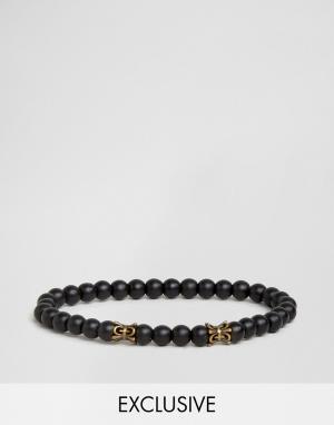 Seven London Черный браслет из бусин эксклюзивно для ASOS. Цвет: черный