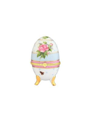 Шкатулка-яйцо Нежная роза Elan Gallery. Цвет: голубой, белый, зеленый, розовый