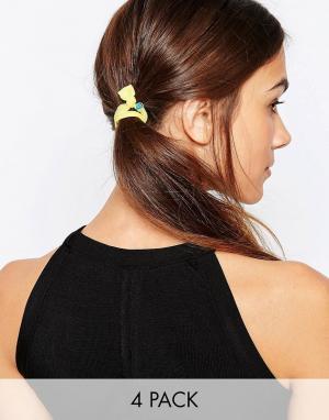 Kat&Bee Набор из четырех резинок для волос с бусинами в форме сердца Kat & Geo. Цвет: мульти
