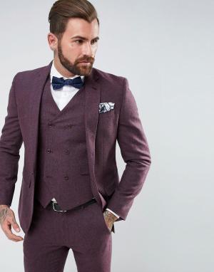 ASOS Приталенный пиджак ягодного цвета с добавлением шерсти Wedding. Цвет: фиолетовый