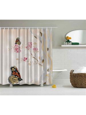 Фотоштора для ванной Бабочки на розовых цветах, карпы, раки и воробьи чёрном бамбуке, розовые фл Magic Lady. Цвет: бежевый