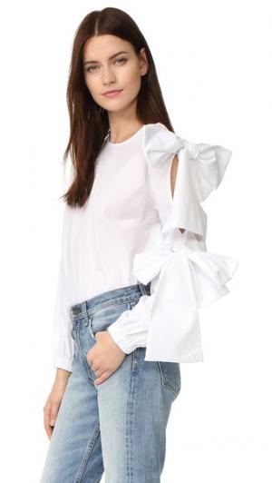 Блуза из ткани в рубчик Clu. Цвет: белый