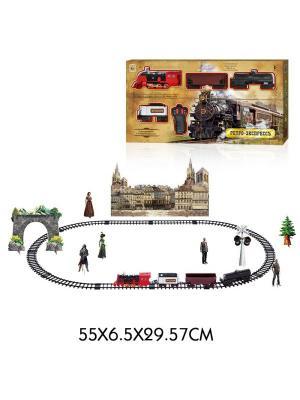 Железная дорога Ретро  Экспресс, свет,звук, дым, паровоз, 3 вагона, пду, 27 деталей, дл путей 78х103 1Toy. Цвет: серый