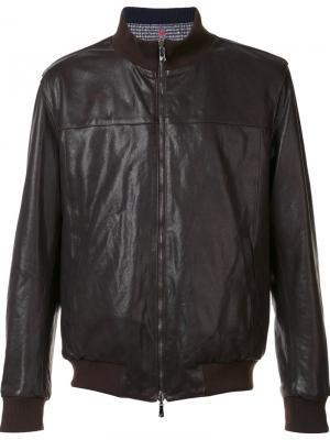 Двусторонняя куртка-бомбер Isaia. Цвет: коричневый