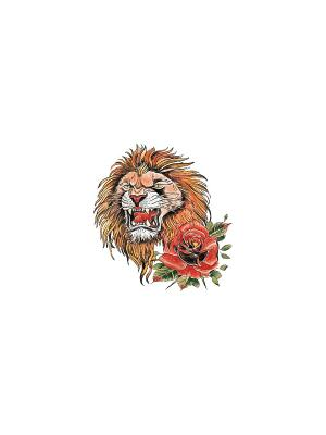 Временная переводная татуировка Лев МнеТату. Цвет: голубой, сиреневый, фиолетовый, красный, желтый, черный, синий, зеленый, морская волна