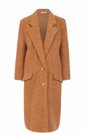 Однобортное шерстяное пальто с карманами Vika Gazinskaya. Цвет: бежевый