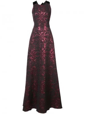 Длинное платье с вышивкой Badgley Mischka. Цвет: красный