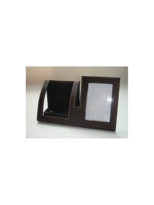 Подставка под телефон с рамкой для фотографии, из ПВХ 18.8х7х9.8 см Magic Home. Цвет: черный