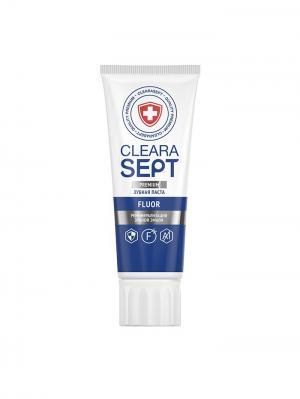 Зубная паста FLUOR  Реминерализация зубной эмали, ClearaSept 75мл.. Цвет: белый