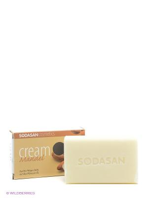 Мыло-крем туалетное твердое глицериновое Миндаль, 100 гр Sodasan. Цвет: коричневый