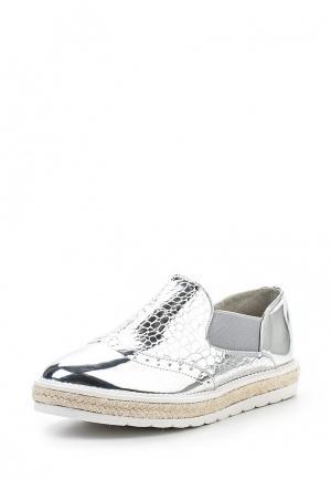 Слипоны WS Shoes. Цвет: серебряный