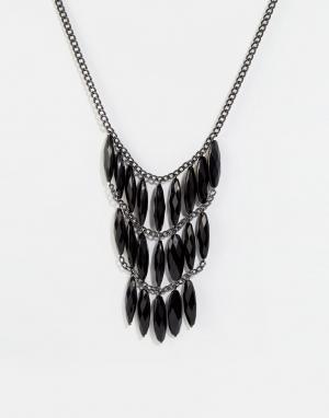 Pilgrim Броское ожерелье с камнями. Цвет: черный
